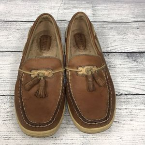 Sperry Topsiders Tan Cream Upper Leather 7 1/2 M